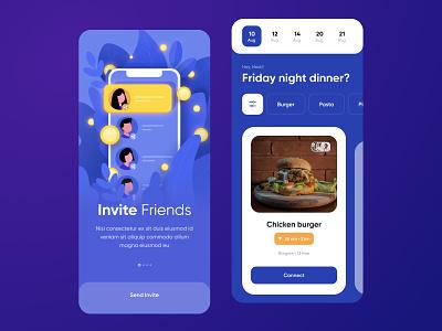 Invite Friends illustrations blue character drawing affinitydesigner login invite burgers flat 2d people website design app business illustration dailyui color art vector