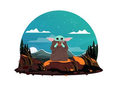 Little Yoda aliens flat illustration characterdesign illustrator drawing mountains nature affinitydesigner clean color animals cute yoda starwars flat 2d illustration dailyui art vector