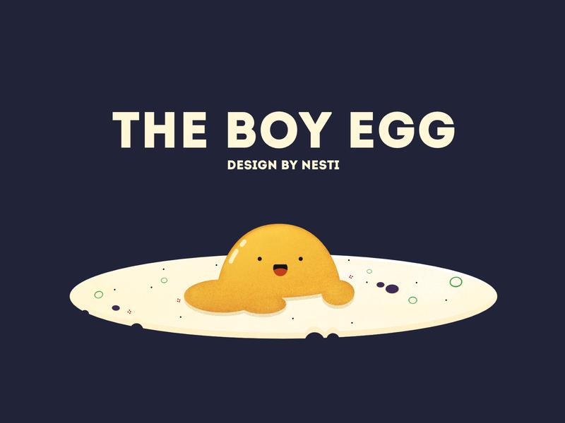 The Boy Egg noise yellow website draw affinitydesigner breakfast characterdesign flat food eggs design app 2d illustration dailyui color art vector