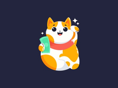 Japanese Сat japanese сat red sketch cute sticker japanese money cat luck money illustrator flat characterdesign design affinitydesigner 2d illustration dailyui color art vector