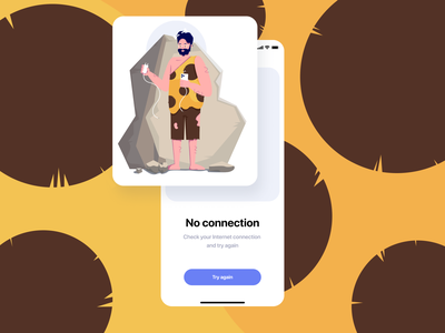 No connection (Caveman) illustrations artwork mobile ui caveman flat illustration drawing people man business app characterdesign affinitydesigner 2d illustration dailyui color art vector