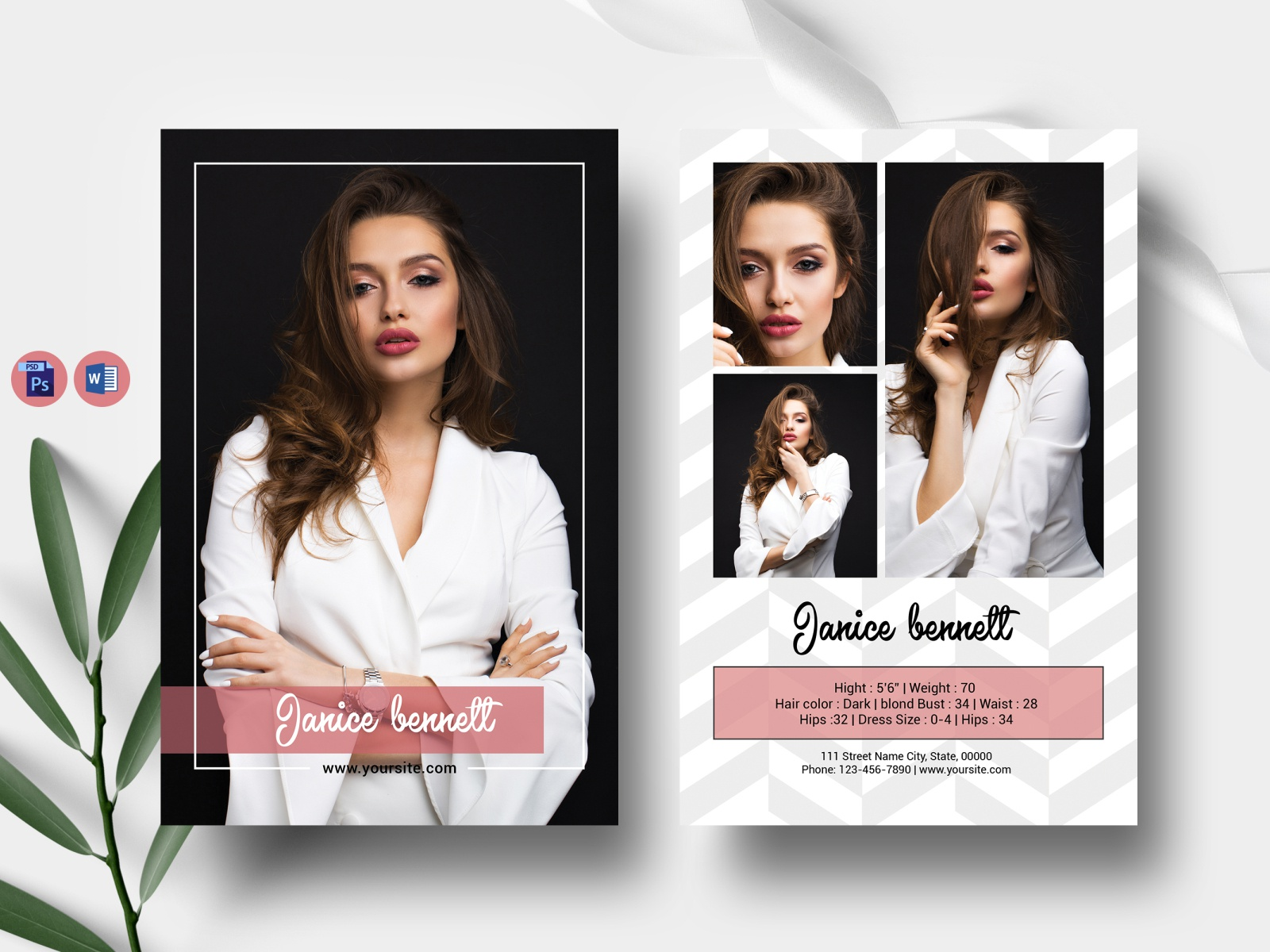 Model Comp Card Template by UltimateTemplate on Dribbble Throughout Comp Card Template Psd