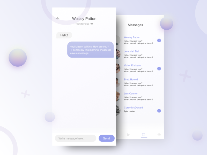 Message UI converge hi hello write send meet message text conversation conversations
