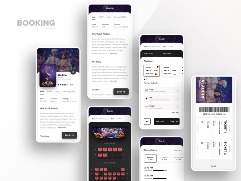Booking UI pay dates watch story gold seats map theatre cinema movie reviews info checkout tickets book booking