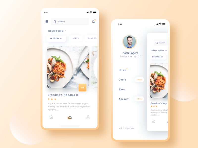 Recipes App breakfast plate orange ingredients bar eat shop account navigation menu search profile chef chefs dinner food lunch home recipe receipes