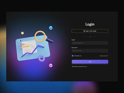 Login and Sign Up screens for web app web app ui design