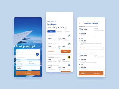 Flights booking app ux app ui design