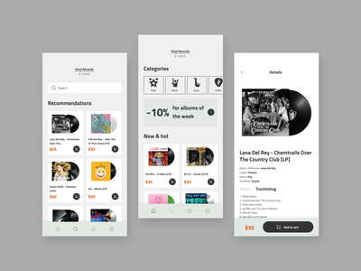 Vinyl Records - e-commerce App app ui design