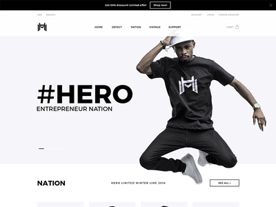 #Hero Store website design ecommerce e-commerce ui design black and white