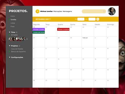 DailyUI - #038: Calendar calendar la casa de papel design interface uidesign uxdesign ui ux design interface dailyui