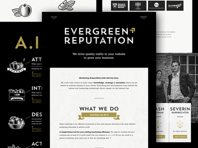 New Evergreen Reputation: It's live! london vintage gold black icons typography header landing page website user interface ux ui