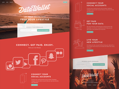 Datawallet - landing page ux ui user interface landing page parallax social media icons header video