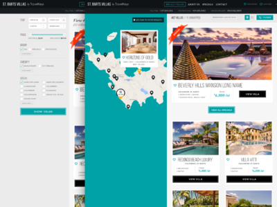 Travelkeys Microsite - Search Flow vacation luxury villa home destination pins map grid search results user interface black