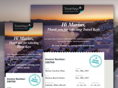 Travel Keys Invoice landing page newsletter mobile email vacation luxury destination home ui
