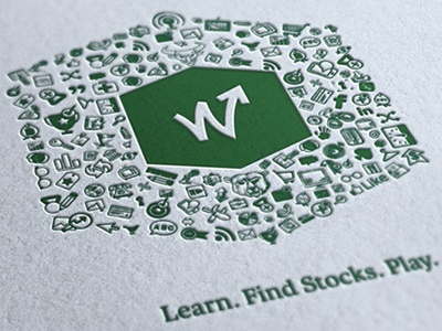 Learn. Find Stocks. Play. icons hand-drawn letterpress