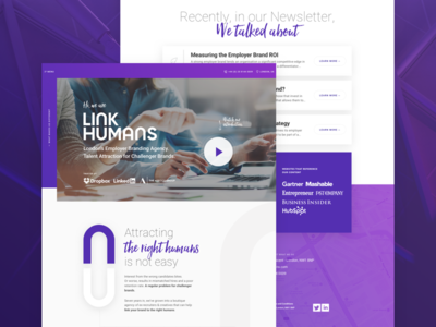 Link Humans purple gradient photography marketing interface design homepage