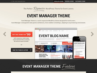 Landing Page for Event Manager Theme user interface design interface design ui ux theme wordpress homepage landing page website responsive buttons header black grey red