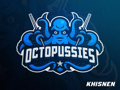 Octopussies sportbranding chick branding mascot 8 girl team octopus sport table pool billiard