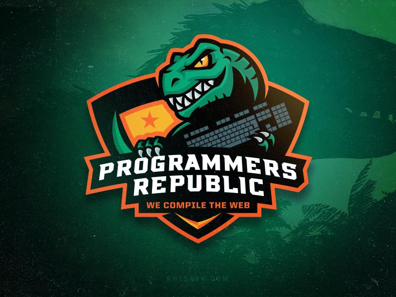 Programmers Republic logo tech dev developers dinosaur mascot trex