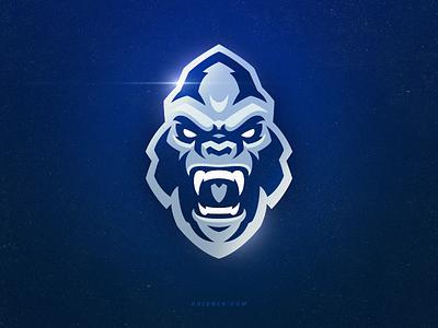 Silverback monkey mascot gorilla sport branding logo sport ape