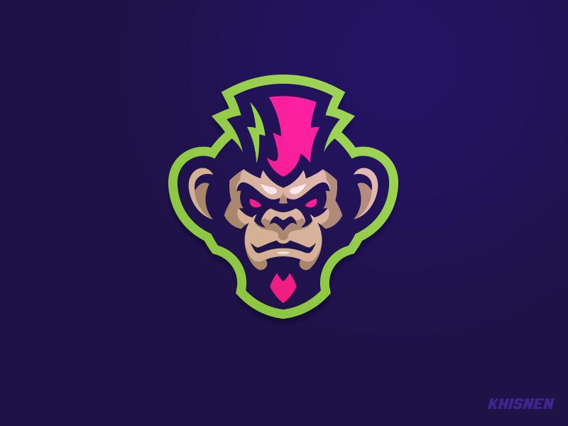 Punkey logo. mascot punk ape illustration logotype monkey