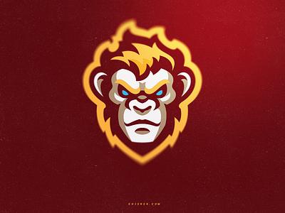 Monkey illustration monkey ape mascot logo