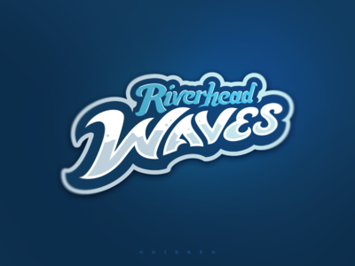 Riverhead Waves Wordmark wave baseball branding sport logo logotype logo