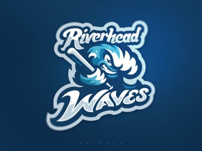 Riverhead Waves wave baseball sports logo logo branding sport logotype mascot