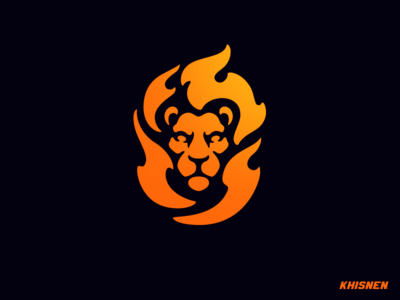 Leo flames lion head animal logo design logotype branding