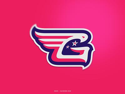 G hawk wing letter logos logotype cheerleader branding logo sport logo