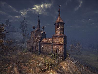 Church - Unity3d rendering 3d modeling texture landscape clouds fog rain storm game gamedesign squarefive