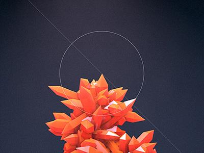 Reddish Crystals 3d render materials shiny glossy light realistic cinema4d minimalistic modern typo vintage