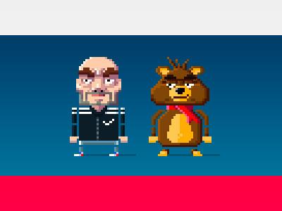Bogdan & Boris The Bear game design pixel art cartoon design character pixel