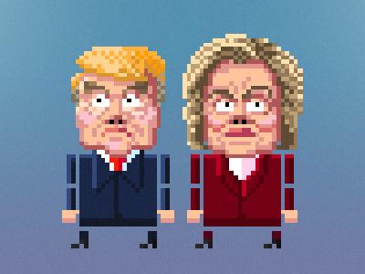 Hump & Thrillary presidential election game design pixel art cartoon design character pixel