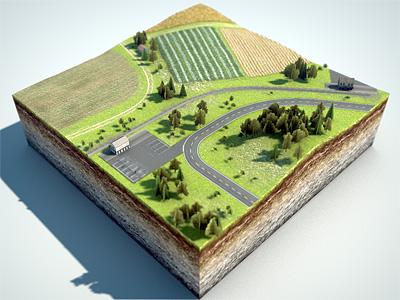 Level Design map level design rendering 3d graphics miniatur landscape terrain train track road farmland trees foliage textures cinema 4d