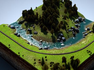 Level Design 2 map level design rendering 3d graphics miniatur landscape terrain train track road farmland trees foliage textures cinema 4d water river