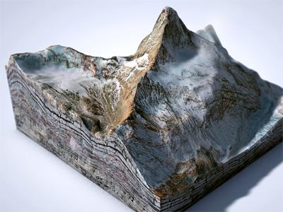 Mini-Matterhorn matterhorn mountain landscape terrain rendering 3d cinema4d texture satellite image level design map