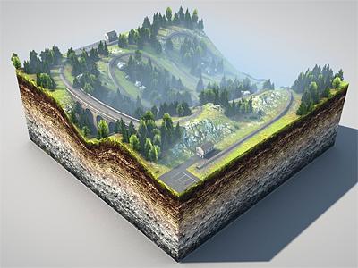 Leveldesign level design 3d rendering cinema4d modeling terrain texture trees forest viadukt train rails railway rocks grass mud sediment