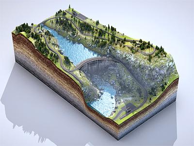 Level 02 03 3d rendering design cinema4d level texture terrain modeling train trees grass railway rocks sediment forest mud rails viadukt dam