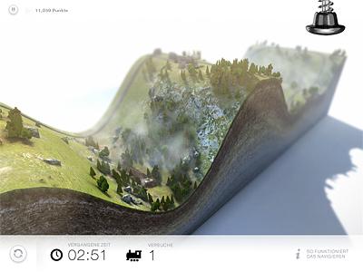 Ingame Level shot game 3d level map terrain screen design unity cinema4d rendering model modeling texture grass trees rock sediment clean slick minimalistic