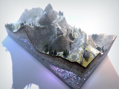 Valais Level 1 3d model render level design game swiss switzerland railroad mountains snow ice trees texture landscape
