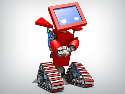 Ticketmachine Robot 3d rendering modeling texturing animation rigging switzerland sbb ticket travel treads