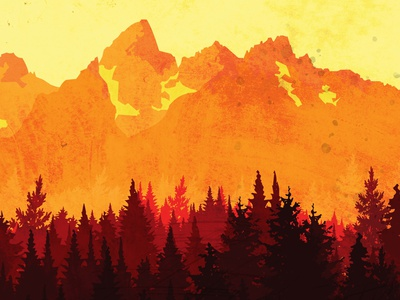 Warmth of the Mountains tetons graphicdesign illustraion vector art