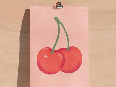 Vector cherries playful fruit food pink cherries vector retro illustration ill