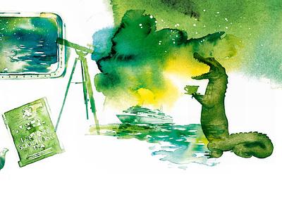 Editorial Watercolours yellow detail fairytale magazine editorial akvarell aquarelle crocodile green illustration watercolor