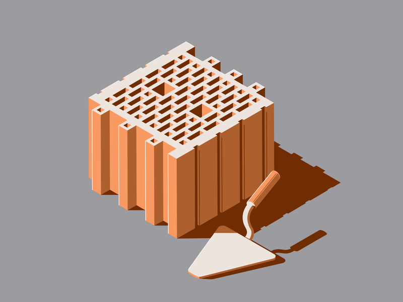 Brick and trowel on the solid background isometric brown block build 3d development vector illustration graphic design