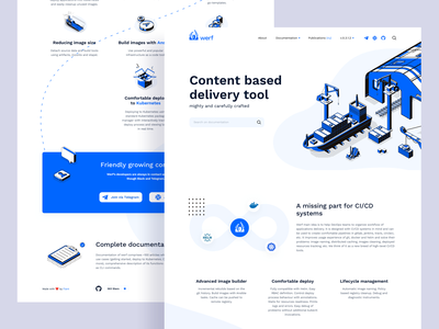 Werf.io Landing Page web ship shipyard kubernetes development devops isometry design graphic ux ui interface uxd uxdesign app concept modern onboarding minimal illustration