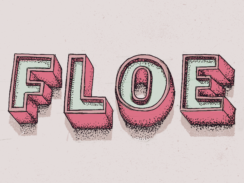 Floe lettering type typography comic grain noise rough hand drawn photoshop moleskine sketch doodle