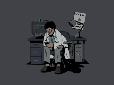 Key Workers 02 night ipad procreate doodle sketch computer desk nurse doctor office design illustration