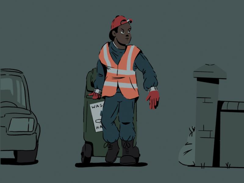 Key Workers 03 street utilities rubbish waste bin procreate ipad doodle sketch design illustration